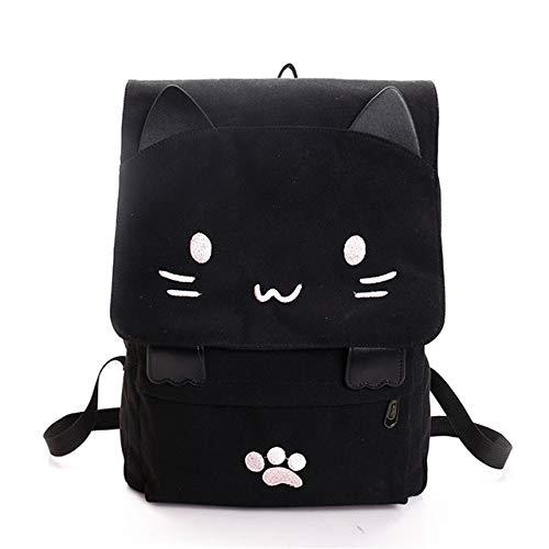 Victoe Rucksack mit süßem Katzenmotiv, Leinen, Kawaii-Rucksack, Schultasche, Studenten, Jugendmode, Schwarz mit Weiß, Einheitsgröße
