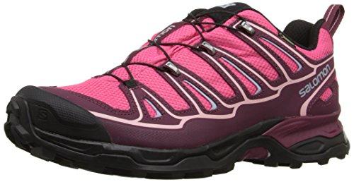Salomon X Ultra II GTX, Zapatillas de Senderismo Mujer, Rosa (Hot Pink/Bordeaux/Pebble Blue), 40 2/3