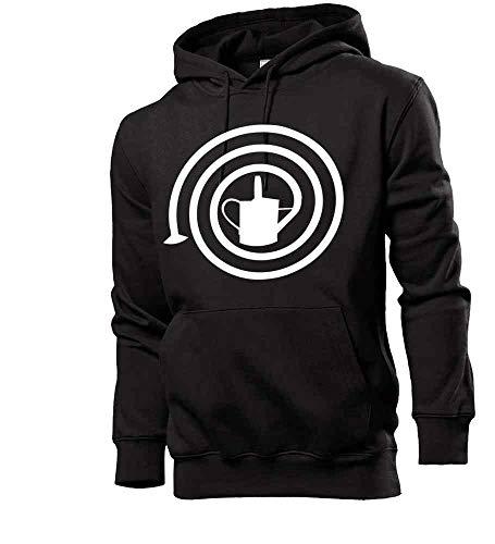 Men's Hooded Sweatshirt with 'Gypsum Canne' Motif - Black - Medium