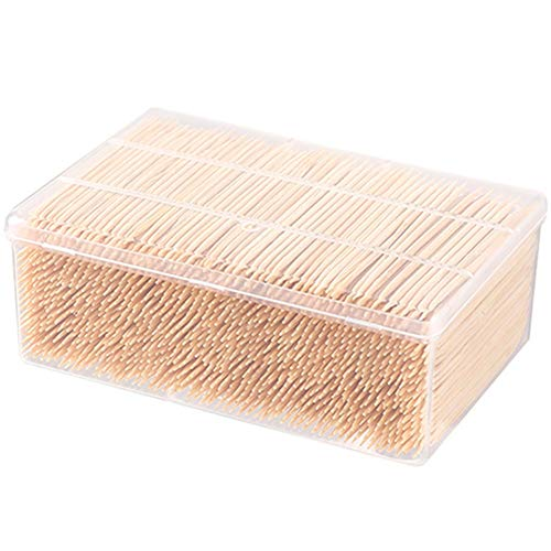 Egurs Bamboe tandenstoker, 1000 stuks, wegwerp, dubbele punt, 6,5 cm, met opbergdoos