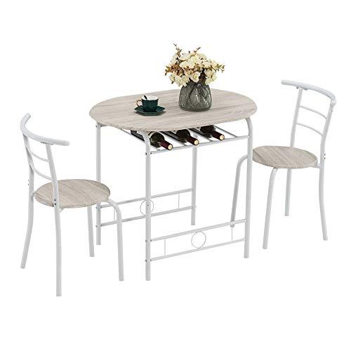 TWOC-QPD Juego de mesa de comedor de 3 piezas con taburetes, juego de mesa de comedor pequeña para 2 mesas de cocina, lacado para hornear, para parejas, mesa de desayuno inclinada