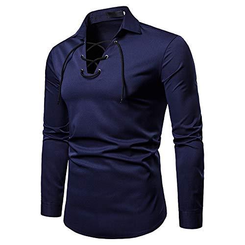 Blusas básicas de Manga Larga para Hombres, Solapa de Moda, Color sólido, diseño Personalizado, Blusas Informales y de Trabajo Diario XL