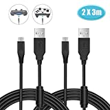 PS4 controller ladekabel 2 Pack, 6amLifestyle Extra lang 3M Micro USB Kabel, Micro USB Ladekabel for Playstation 4 / PS4/ PS4 Slim/ PS4 Pro/Xbox One/One S/One Elite/One X Controllers