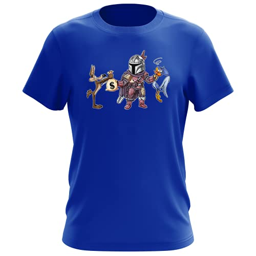 Maglietta Blu da uomo parodia The Mandalorian - Wile E. Coyote e Beep Beep - Mando il Mandaloriano aka Din Djarin, Wile E. Coyote e Beep Beep - (T-shirt di qualità premium in taglia XXL - Stampata i