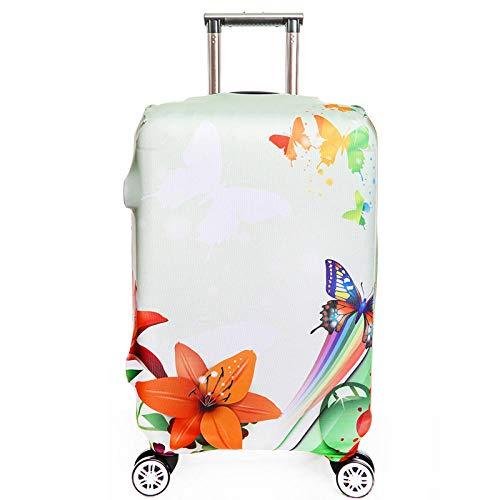Cubierta de Equipaje Poliéster Equipaje de Viaje Cubierta de la Caja Protectora Mariposa Flor S:18-20 Inch
