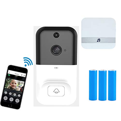 QGGESY WiFi Timbre Inalámbrico Exterior Impermeable con Camara,videoportero Inalambrico,Audio Comunicación Bidireccional,Autoinstalación Simple Gran Angular,para iOS y Android,set2