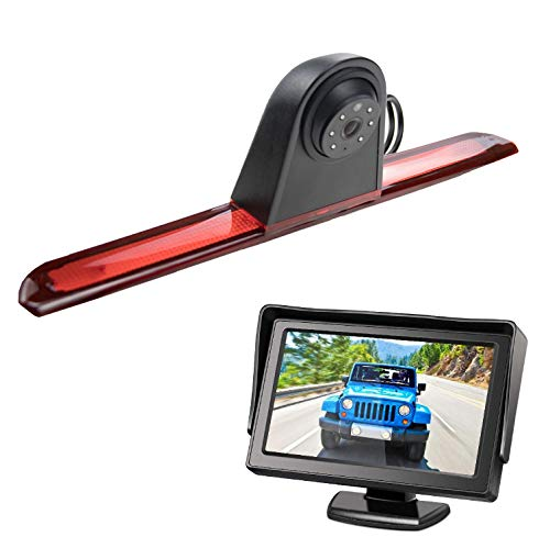 HD 720p Rear Backup Parking Camera With 5.0 Inch LCD Monitor Kits,3rd Brake Light Replacement Camera for Transporter Transit V363 Jumbo F150//F250//F350 Transit MK8 2014-2019