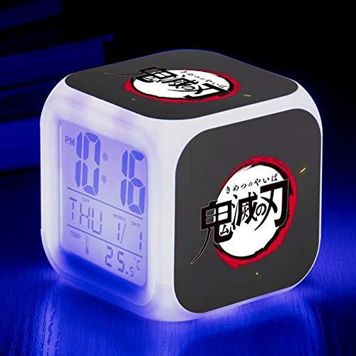 Totots Demonio Slayer Alarma Reloj de alarma LED Reloj de alarma Anime Reloj de alarma Electrónica Calendario Calendario Reloj despertador Lazy Snooze Reloj Historieta Cuadrado Cuadrado Reloj de alarm