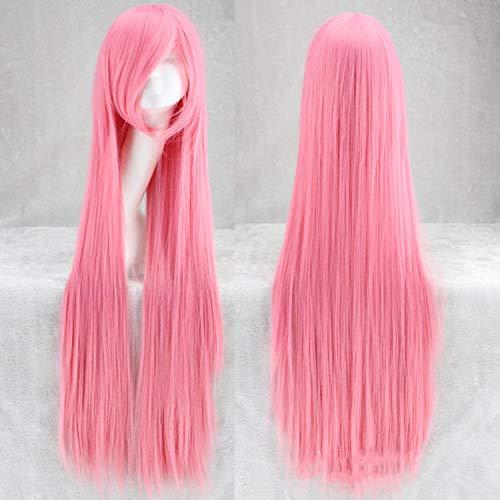 YMOY 100CM lange glatte Haare mehrfarbige Haarfarbe Perücke Anime Cosplay Perücke,Frauen DamenTägliche Kleidung Cosplay Party HalloweenPink