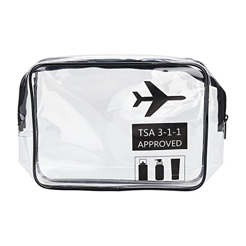 1 Pack Clear Toiletry Bag TSA Approved Travel Carry On Airport Airline Compliant Bag Quart Sized 3-1-1 Kit Luggage Pouch for Liquids Bottles Women and Men Set