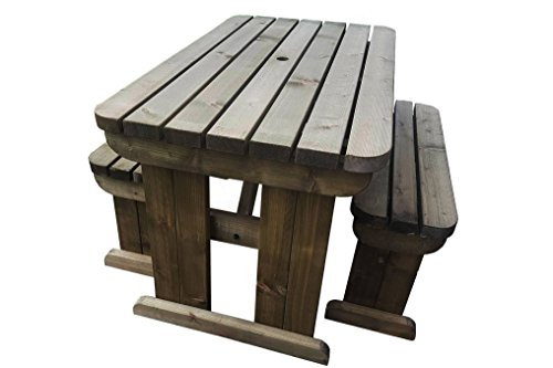 YEWS Compact Rounded Garden Picnic Table and Benches Set - Space Saving Furniture for Small Spaces - Heavy Duty - Handmade in The UK - Light Green (Natural) or Rustic Brown (5ft, Rustic Brown)