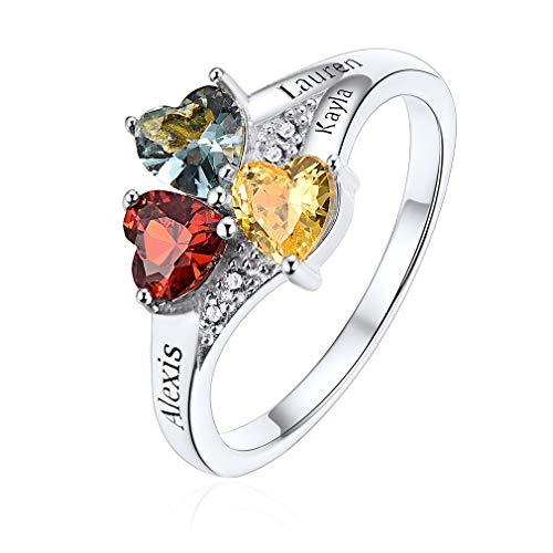 Anillo Romántico de Compromiso Piedras de Corazón Personalizada de Colores Anillo con Tres Nombres Personalizados para Parejas Joyería Plata de Ley 925