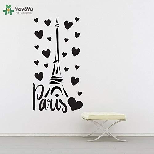 BailongXiao Calcomanías de Pared Caliente Paris France Tower Love Design decoración del hogar Pegatinas de Pared Vinilo para Dormitorio diseño Moderno Interior 30x57cm
