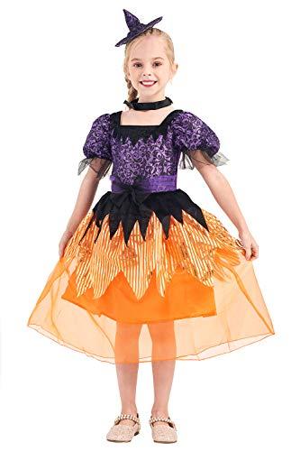 Costume strega di Halloween per ragazze, Sorceress Fancy Dress Outfit Magic Princess Gioco di ruolo 3pezzi
