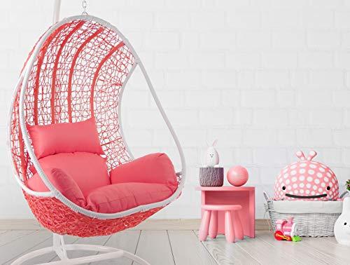 Kideo Komplettset: Pinker Hängesessel mit Gestell & Kissen, Poly-Rattan, Schaukel, Lounge weiß, Coral,
