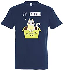 Pampling Camiseta Schrodinger's Night (Talla L) - ¡Brilla en la Oscuridad! - Gato - Ciencia - Color Azul Marino - 100% Algodón - Serigrafía