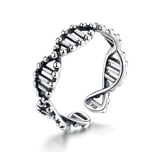 JIARU 925 Sterling Silver Ring for Women Adjusatable ring fashion simple ring and Romantic DNA spiral rings for Girl Open Finger Ring Gift