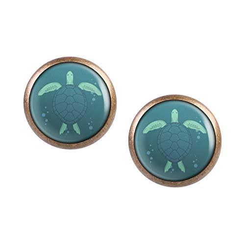 Mylery Ohrstecker Paar mit Motiv Schildkröte Meer Wasser bronze 12mm
