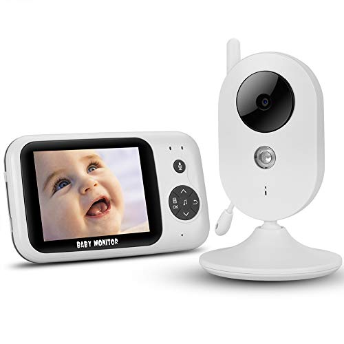 【2020 Upgraded】NVMIAO Babyphone 3.2 Zoll HD Babyphone mit Kamera Video Überwachung Smart Baby Monitor TFT LCD Digital dual Audio Funktion, VOX, Schlafmodus, Nachtsicht, Temperatursensor, Schlaflieder,