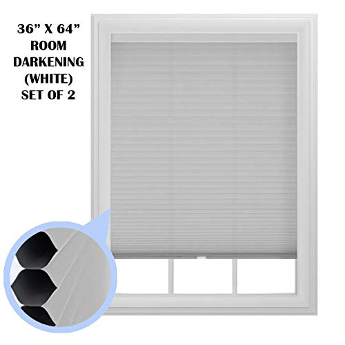 Set of 2- 9/16 in. Trimmable Cordless Cellular Room Darkening Window Shade, 36-Inches by 64-Inches
