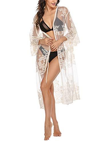 Parabler Damen Sehen Durch Spitze Bikini Cover up Kimono Cardigan exotische Vintage Boho Hippie häkeln Maxi Kleid Bikini Bademode Vertuschen
