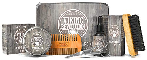 Viking Revolution Beard Care Kit for Men - Ultimate Beard Grooming Kit includes 100% Boar Mens Beard Brush, Wooden Beard Comb, Beard Balm, Beard Oil, Beard & Mustache Scissors in a Metal Gift Box