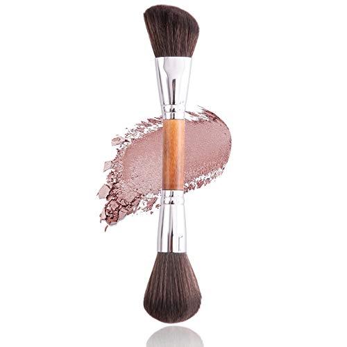 YKULEW, brocha de maquillaje Kabuki grande, brocha para polvos sueltos, mango de madera, base, bronceador, rubor, brocha para la cara para mujeres, cosméticos