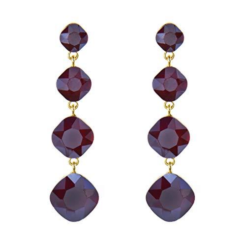 Tempus Fugit. Regalo per donna: orecchini lunghi. Design alla moda. Placcati in Oro, con Cristalli di Colori brillanti, include scatola regalo.