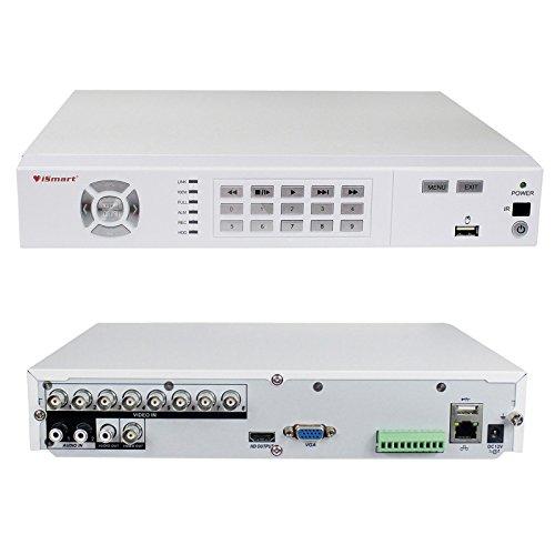 iSmart 8CH HD Full 1080P DVR con H.264 Sistema de cámara de Seguridad para el hogar, Compatible con visualización remota por Smartphone y PC, D5608WH Blanco sin HDD