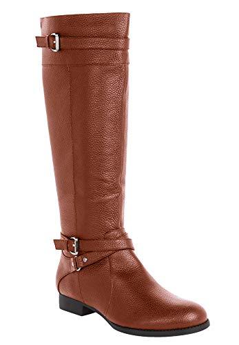 Comfortview Women's Wide Width The Janis Leather Boot - 9 1/2 M, Cognac