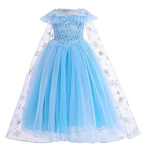 LOBTY Mädchen Eiskönigin ELSA Kostüm Schneeflocke Kleid mit Umhang Kinder Prinzessin Kostüm Karneval Party Verkleidung Weihnachten Halloween Fest Set aus Diadem, Zauberstab, Geflecht, Handschuhe