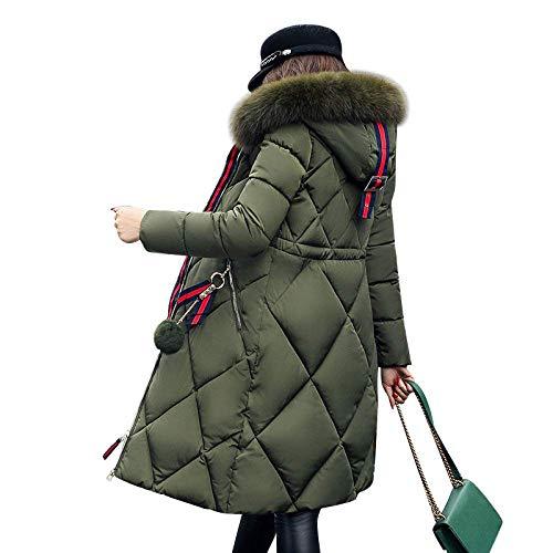 Damen Parka mit Kapuze, grün, großes Fell, Wintermantel, verdickter Parka, Damen, schmal, lang, Wintermantel, Daunenjacke, Baumwolljacke, ist ein Geschenk für Frauen, XXL