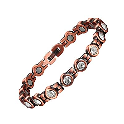 【3500Gauss Magnetic Bracelet】Every single functional link come with 3500 gauss high powered rare earth neodymium magnets(5mm updates),effect best on physical and mental well-being,suitable for all ages and genders to wear 【Pure Copper Bracelet for Ar...