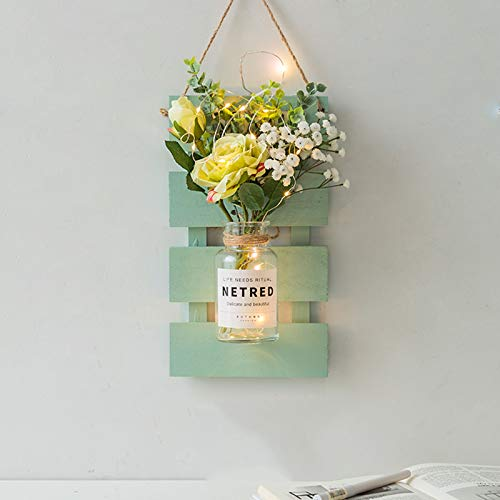 ZAZAP-1 Wall Decoration, Antique Wall Lamp, Handmade Wall Hanging Art Design, With LED Fairy Lights and White Roses, Farmhouse Kitchen Decorations