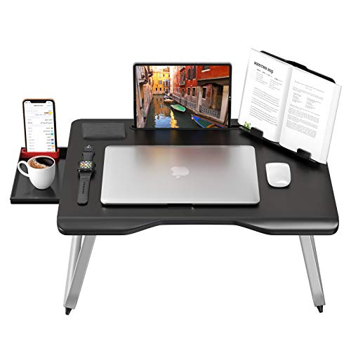 "AboveTEK ERGO Extra Large Folding Laptop Table - 17"" Computer Travel Desk w/Pull Out Storage Drawer, Phone Holder, Book Tablet Stand, Cup Holder - Heavy Duty, Lightweight Tables for Adults Bed & Sofa"