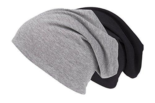 Shenky - Bonnet d'été/de Printemps en Jersey - Fin et Long - Homme, Femme, Enfant - Taille Unique - Lot de 2 - Noir et Gris