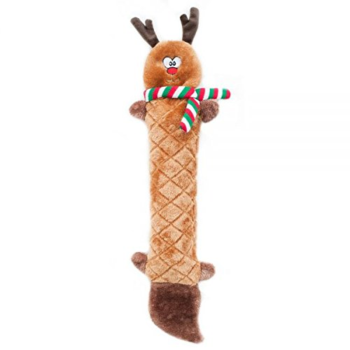 ZippyPaws - Jigglerz Holiday Tough No Stuffing Squeaky Plush Dog Toy with Crinkle Head and Tail - Reindeer