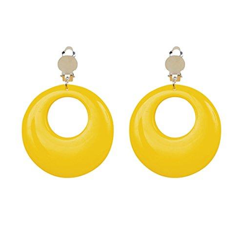 NET TOYS Ohrringe Creolen Modeschmuck gelb 80er Jahre Damen Schmuck Mode Ohrstecker 90er Ohrclips Ohrschmuck Party Outfit Verkleidung