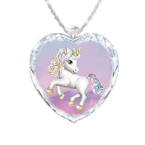 Exquisito collar de cristal con colgante de unicornio, elegante collar para mujer, regalo de joyería de corazón para niños