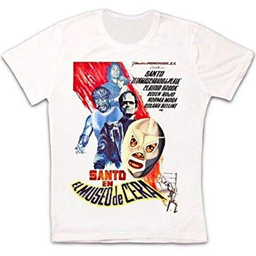 YUKINO EL Santo Wax Museum Film Poster 60s Mexican Wrestler Retro Unisex T Shirt-2XL,White/Men's