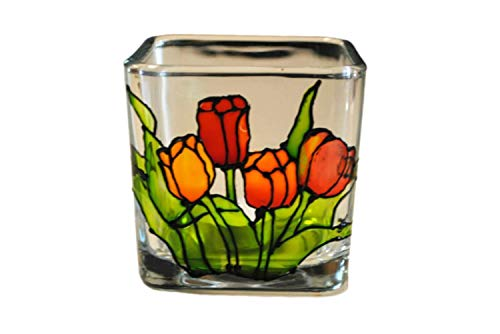 Tulips Flower Multi Color Stained Glass Square Hand Painted Candle Holder