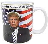 President Donald Trump ceramic mug. 45th President of the United States hot coffee or tea mug with gold rim