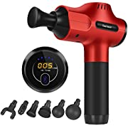 Gocheer Upgraded Muscle Massage Gun,Deep Tissue Quiet Percussion Massager for Athletes Pain Relief Vibration Handheld Portable Electric Sports Drill Fascia Device with 6 Massage Heads,5 Speeds