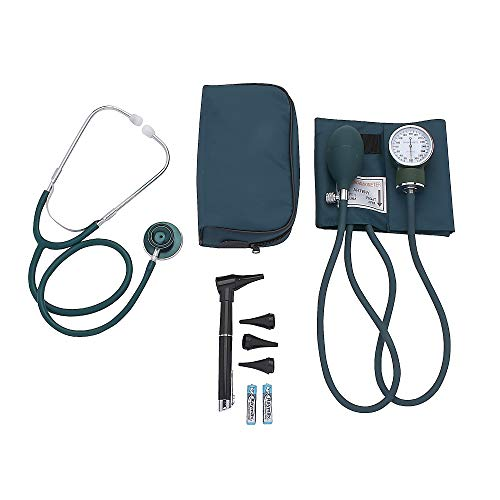 ASA TECHMED | Nurse Essentials Starter Kit with Handheld Travel Case | 3 Part Kit Includes Adult Aneroid Sphygmomanometer Blood Pressure Monitor, Stethoscope, Mini Diagnostic Otoscope (Teal)