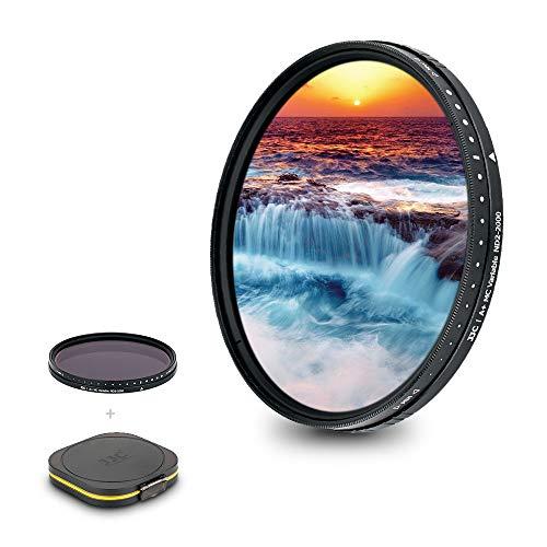 JJC Filtro de densidad neutra variable ND de vidrio óptico de 58 mm (ND2-ND2000) para cámara Canon EF 50mm f/1.4 y otras cámaras de 58 mm, con estuche de filtro a prueba de humedad