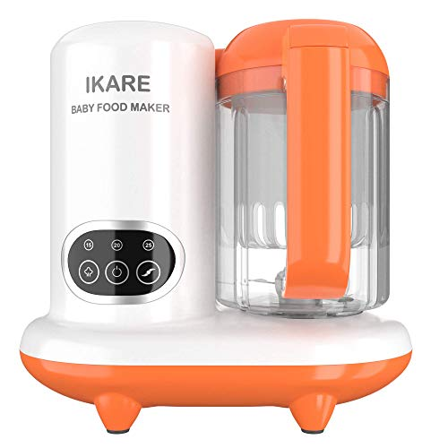 IKARE 6 in 1 Baby Food Maker, Infant Feeding Blender Puree Processor Grinder Steamer, Cook & Blend Healthy Homemade Baby Food in Minutes, 25 Oz Tritan Stirring Cup, Touch Control Panel, Auto Shut-Off