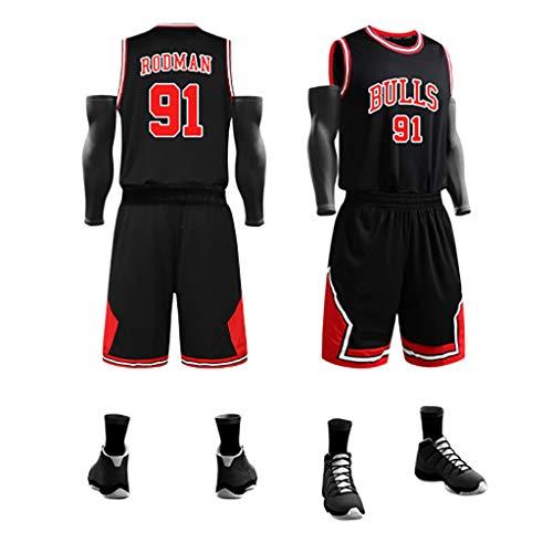 KMNF Basketball Trikot Herren - Dennis Rodman # 91 - Stoff bestickt Swingman Basketball Jersey ärmellos Jersey Anzug Gr. XXXXX-Large, Schwarz