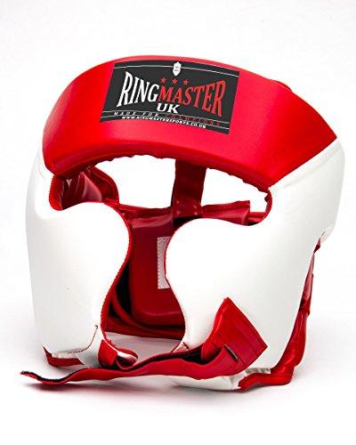 RingMasterUK Helm Boxhandschuhe aus Kunstleder weiß/rot, Herren Damen, rot/weiß