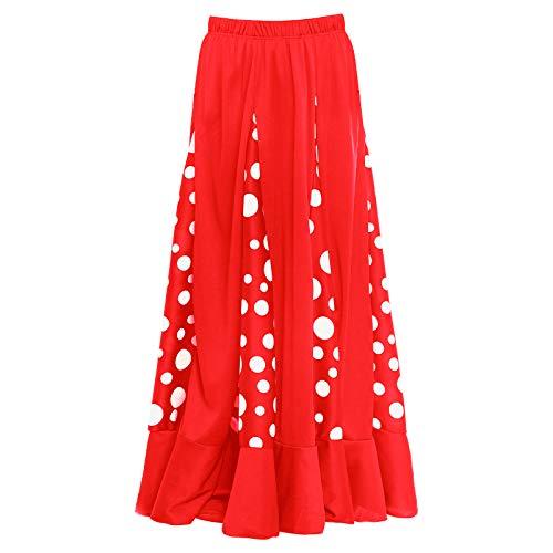 Falda Flamenca Niña Roja con Quillas Lunares Blancos [Tallas Infantiles 2 a 12 años]【Talla 12 años】 Ensayo Baile Danza Disfraz