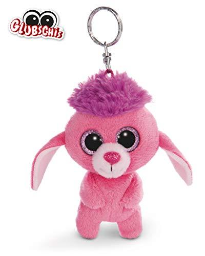 NICI 45549 Glubschis Schlüsselanhänger Pudel Mookie 9cm, große Glitzeraugen, Plüschtier mit Schlüsselring, pink/lila